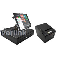 SBV Tablet POS Accessory Kit 2 (Black) - [Standard Cash Drawer / Wifi/Bluetooth Receipt Printer / Gripzo Secure Tablet Mount+Fixings] (4 Items)